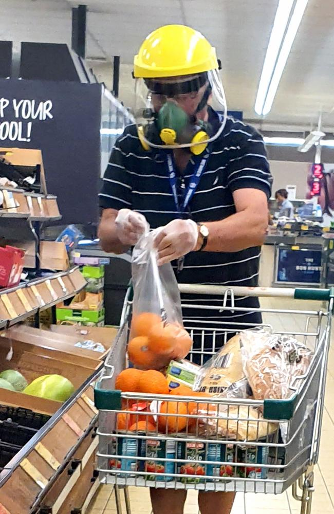 This man was leaving nothing to chance during a shopping trip to Aldi in the Brisbane suburb of Keperra yesterday. Picture: Supplied