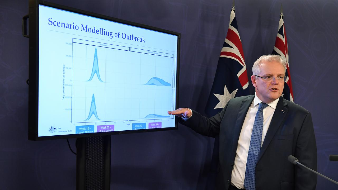 Prime Minister Scott Morrison says social distancing can help the health care system cope with coronavirus outbreaks. Picture: AAP Image/Joel Carrett
