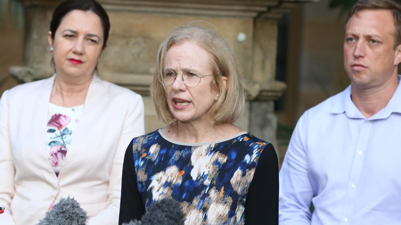 Premier Annastacia Palaszczuk held a press conference about coronavirus at Parliament House this afternoon. Speaking is Chief Health Officer Dr Jeanette Young PSM. 15th March 2020 Brisbane AAP Image/Richard Gosling