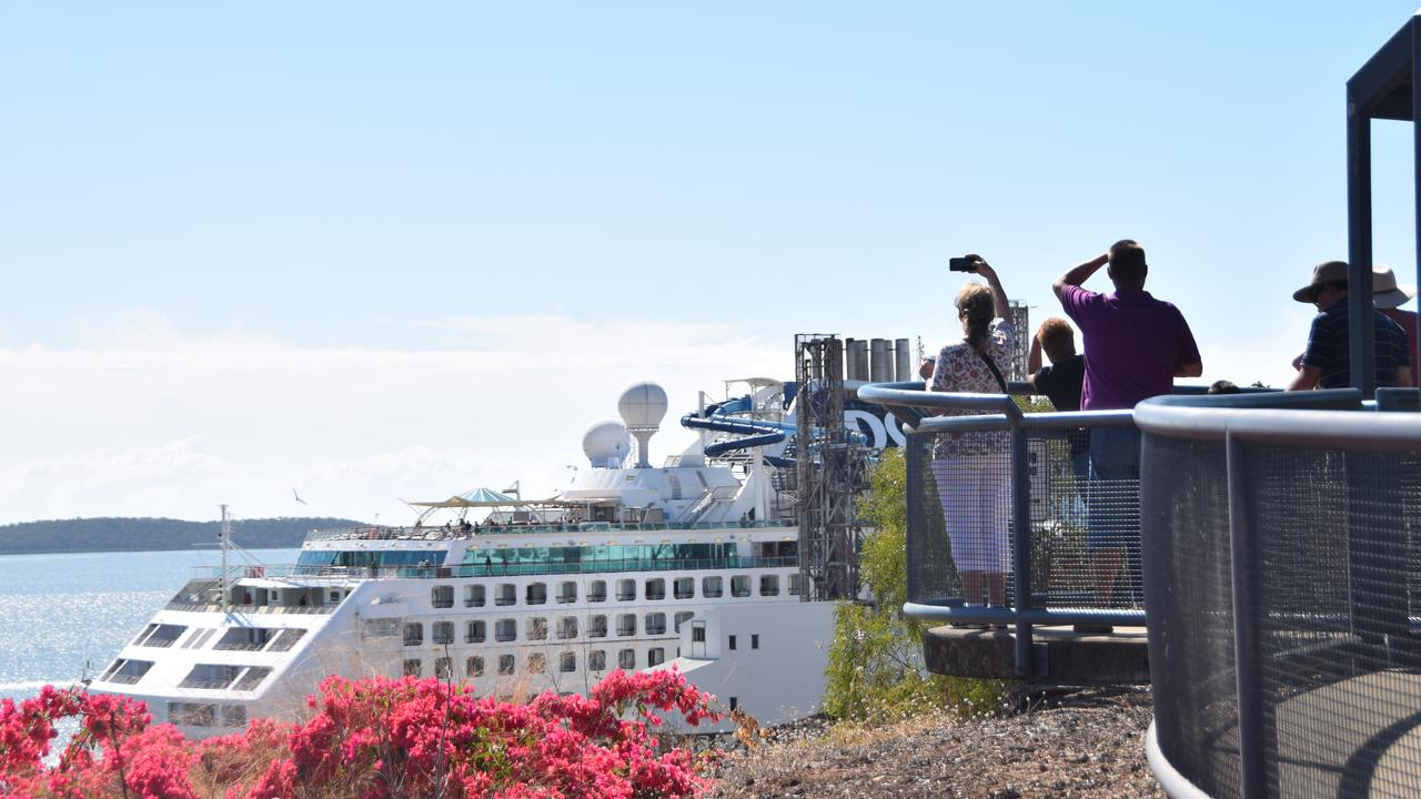 The Pacific Explorer will not dock in Gladstone this week. Pictured: tourists enjoy the view of the Pacific Explorer from Auckland Hill on August 4, 2019.