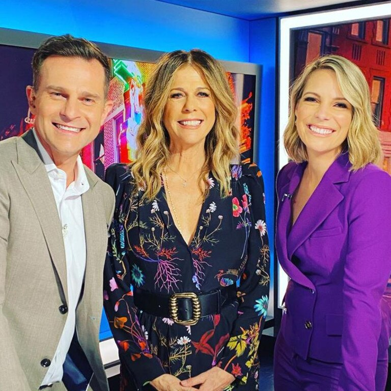 Today Extra hosts David Campbell and Belinda Russell with Rita Wilson on Monday. Picture: Twitter