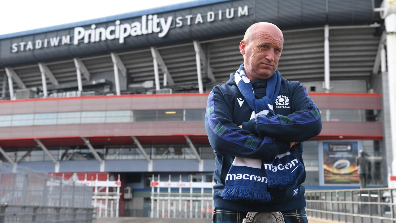 A Scotland fan in a kilt is pictured outside a deserted Principality Stadium after the 2020 Guinness Six Nations match between Wales and Scotland at Principality Stadium was cancelled the day before due to coronavirus on March 14, 2020 in Cardiff, Wales. Picture: Stu Forster/Getty Images