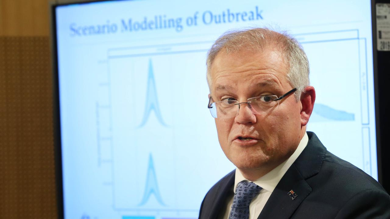 Australian Prime Minister Scott Morrison addressing the media about new restrictions and advice for Australians on how to deal with the spread of COVID-19. Picture: Richard Dobson