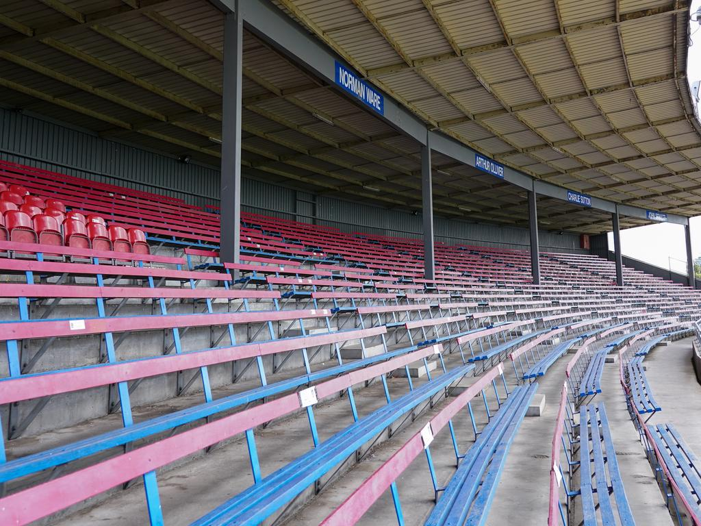 Empty seats during the Round 6 AFLW match between the Western Bulldogs and Fremantle Dockers at Whitten Oval in Melbourne. Picture: Natasha Morello