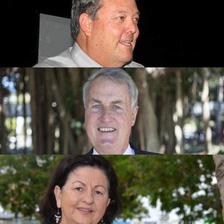 Mayor candidates Andrew Willcox for Whitsunday, Greg Williamson for Mackay and Anne Baker for Isaac.