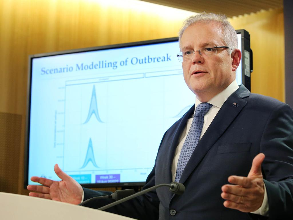 Prime Minister Scott Morrison talks to media about how to deal with the spread of COVID-19. Picture: Richard Dobson