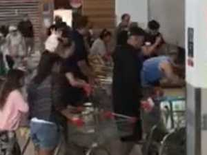 WATCH: Video shows panic buyers crawling to grab goods