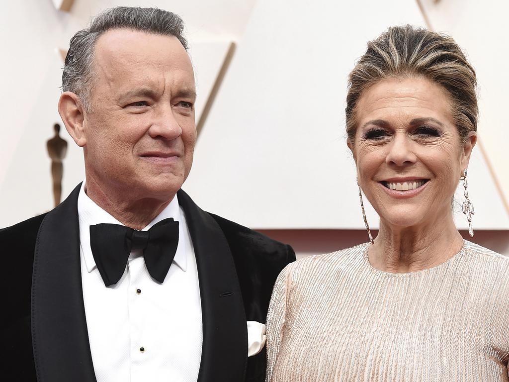 Tom Hanks, left, and Rita Wilson have coronaviruss. Picture: AP