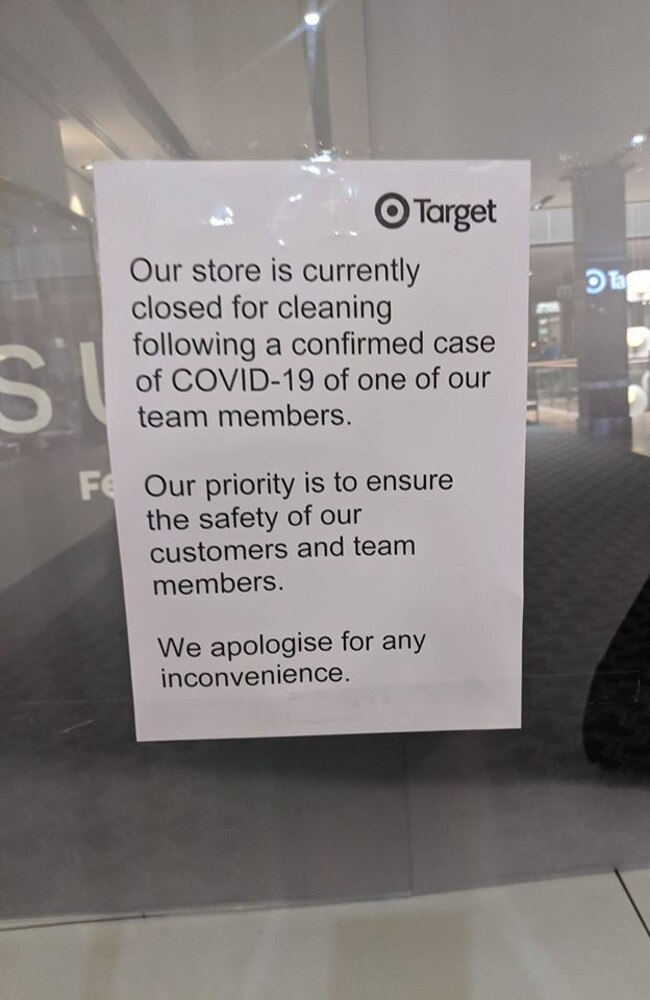 The sign displayed on the window of Target Carindale.