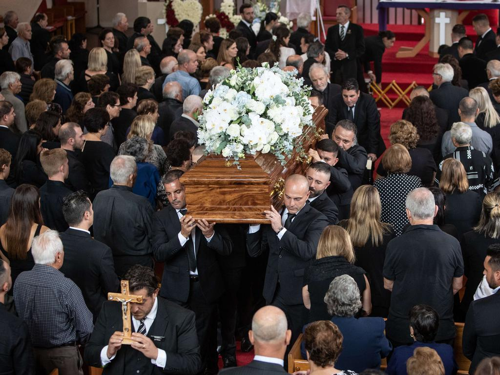 More than 700 people farewelled Mr Plati at a funeral in Dee Why earlier this month. Picture: Julian Andrews