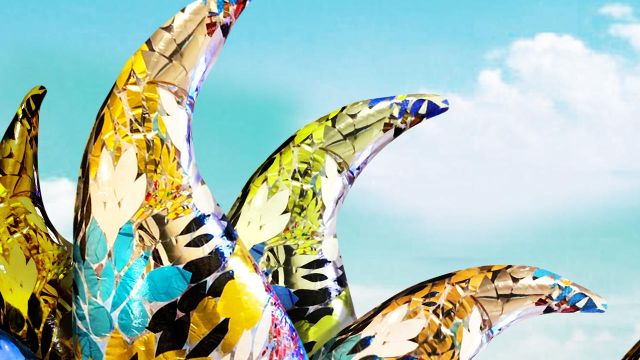 INNOVATIVE RECYCLING: Inflatable sculptures made by Goldberg Aberline Studios from single use plastics.