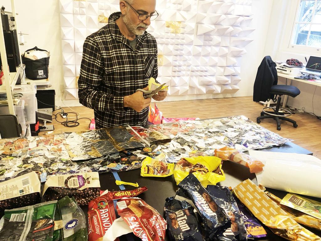 Maurice Goldberg from Goldberg Aberline Studios recycling single use plastics.