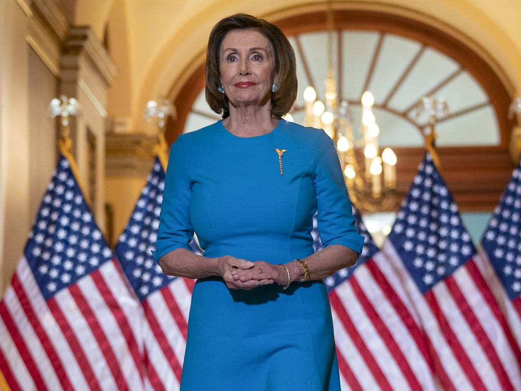 Speaker of the House, Democrat Nancy Pelosi announces the coronaviruss package has passed. Picture: AP