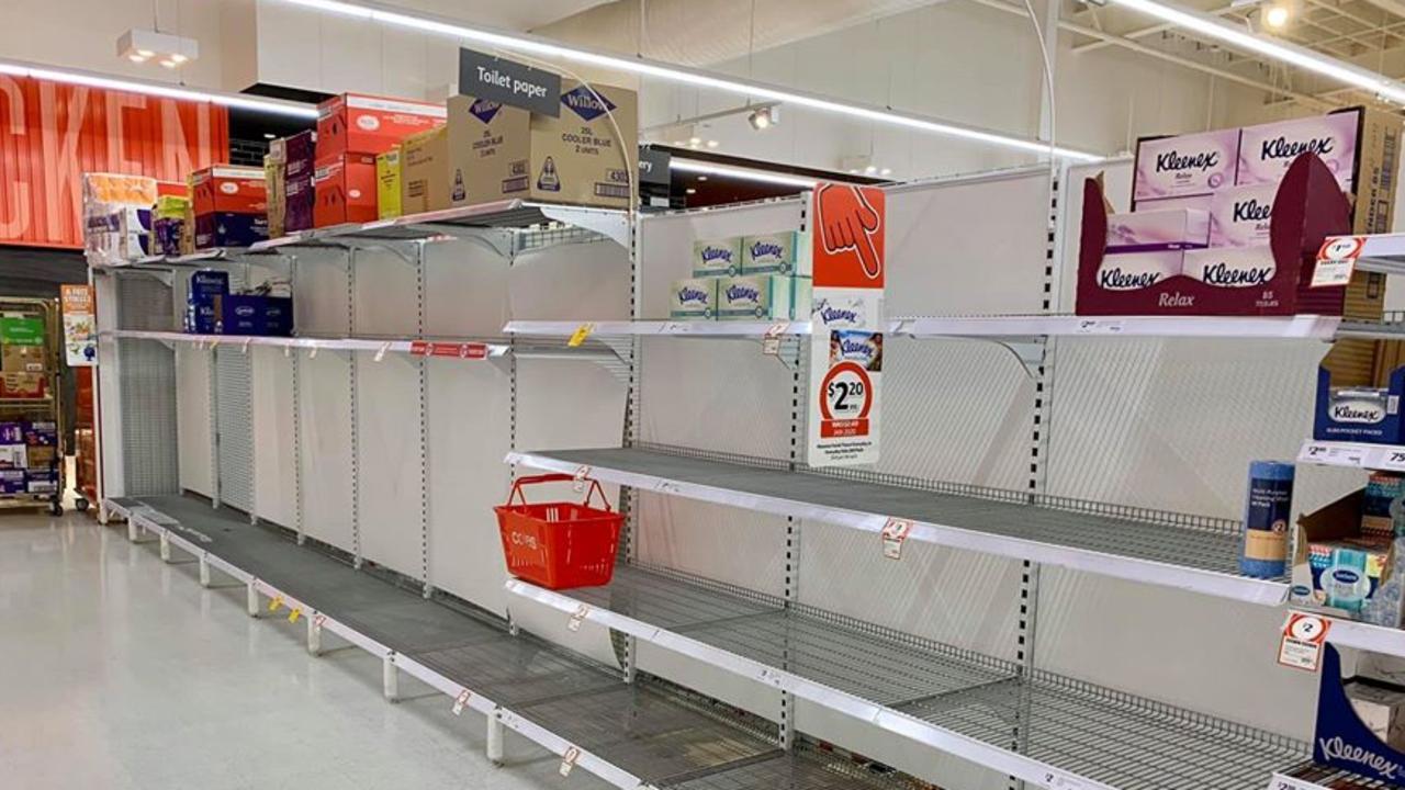 Bare shelves at Coles Casuarina. Picture: James Owen