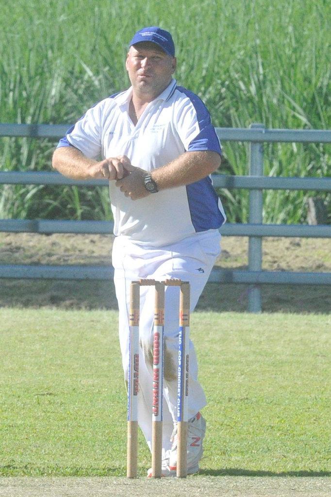 GI Hotel Tucabia-Copmanhurst veteran Matt Pigg bowls during the 2019/20 Clarence River Cricket Association GDSC Premier League major semi-final against South Services at Ulmarra Showground on Saturday, 14th March, 2020.