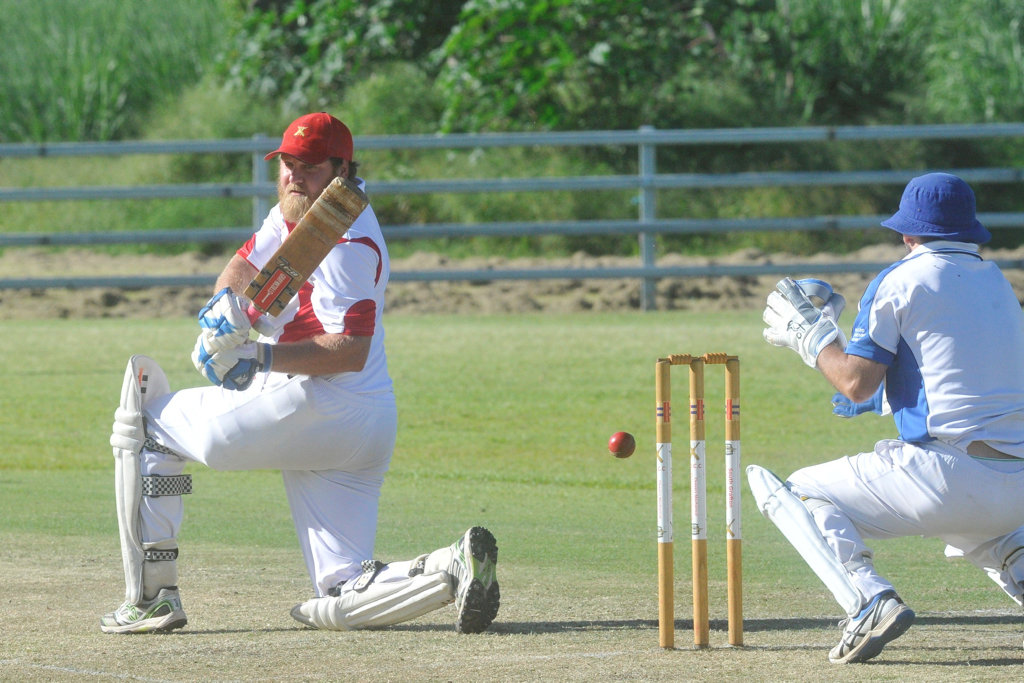A close call for South Services batsman Luke Sullivan in the 2019/20 Clarence River Cricket Association GDSC Premier League major semi-final against GI Hotel Tucabia-Copmanhurst at Ulmarra Showground on Saturday, 14th March, 2020.