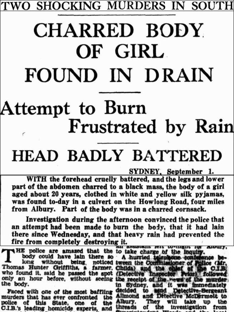 Sunday Mail front page report of Pyjama Girl murder in 1934.