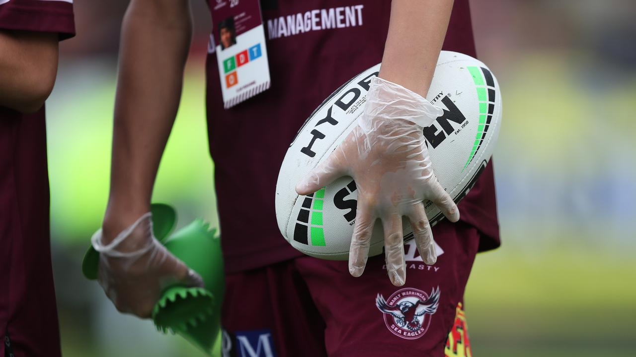 All it will take is for one ball boy to test positive for the virus, for the NRL to be shut down. Picture: Brett Costello