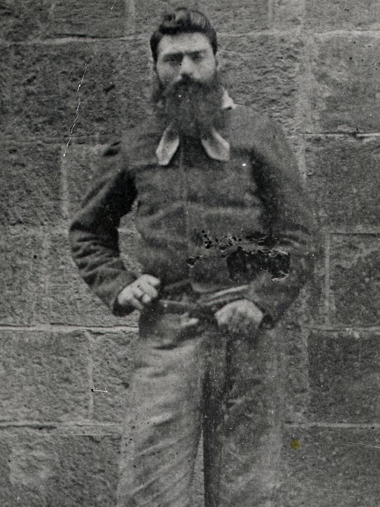 Ned Kelly in chains at a prison called the Old Melbourne Gaol, which is now a historic site. Picture: State Library of Victoria