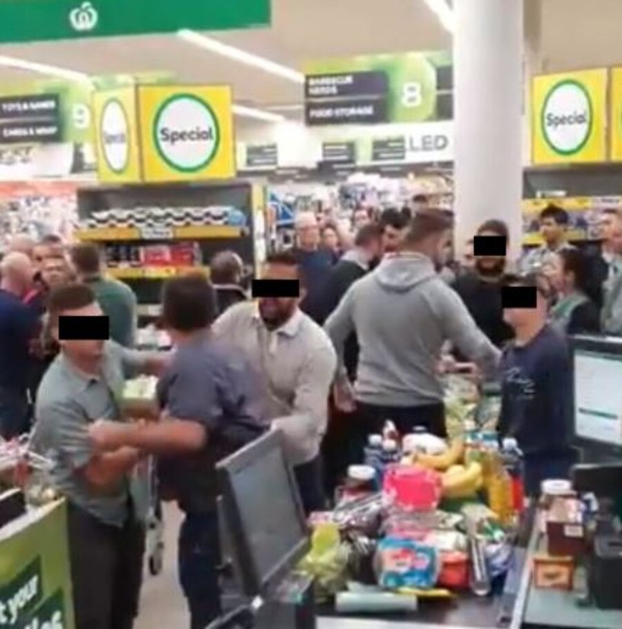 Police were called on Sunday, March 15, after tensions boiled over a crowded supermarket checkout in south west Sydney.