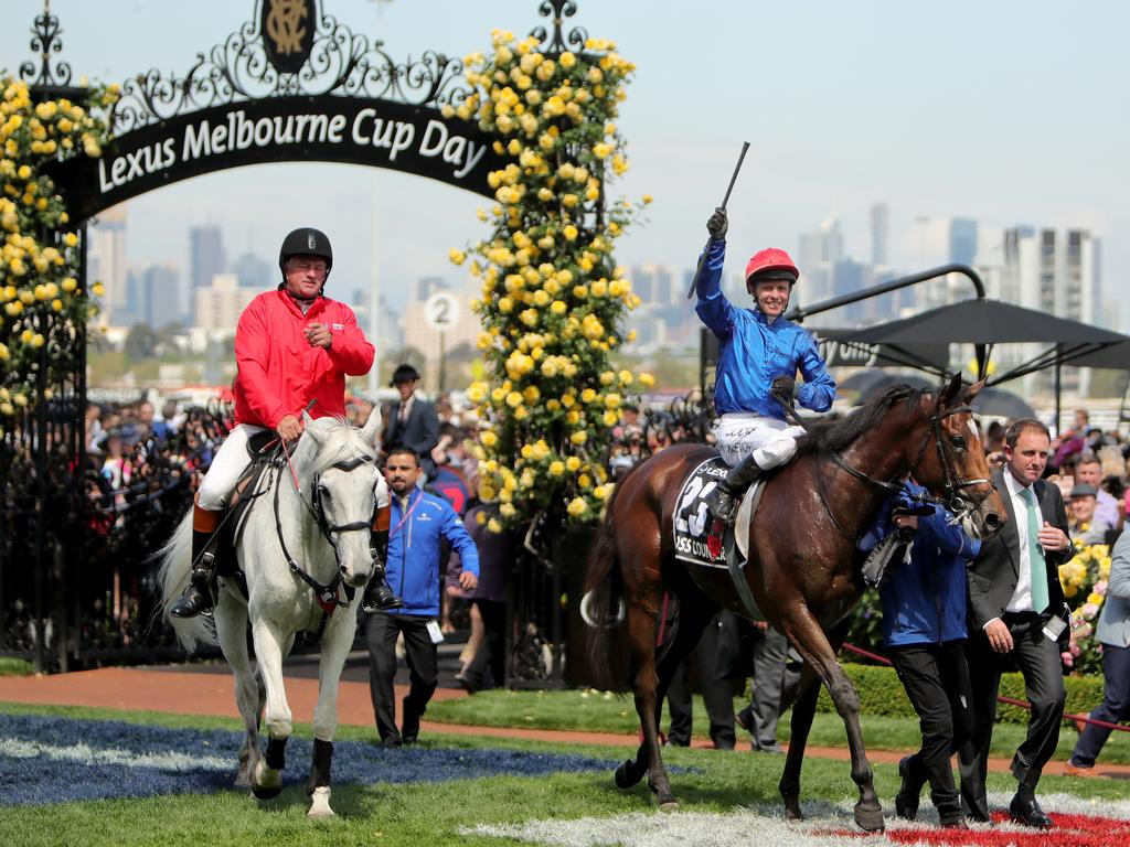 Sheik Mohammed bin Rashid al-Maktoum's Cross Counter won the 2018 Melbourne Cup. Picture: Stuart McEvoy/The Australian.