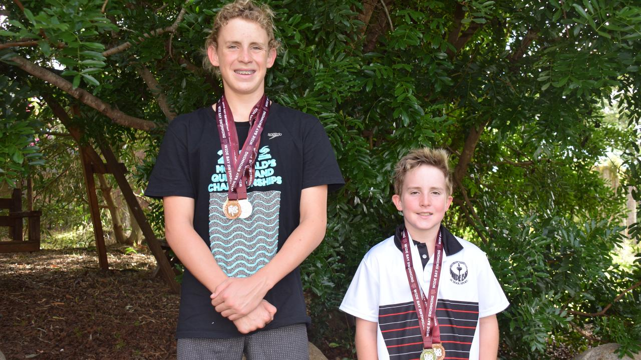 FAMILY AFFAIR: Alex and Matty Reddacliff have returned home from the Wide Bay regional swimming championships with six medals between them. (Picture: Tristan Evert)