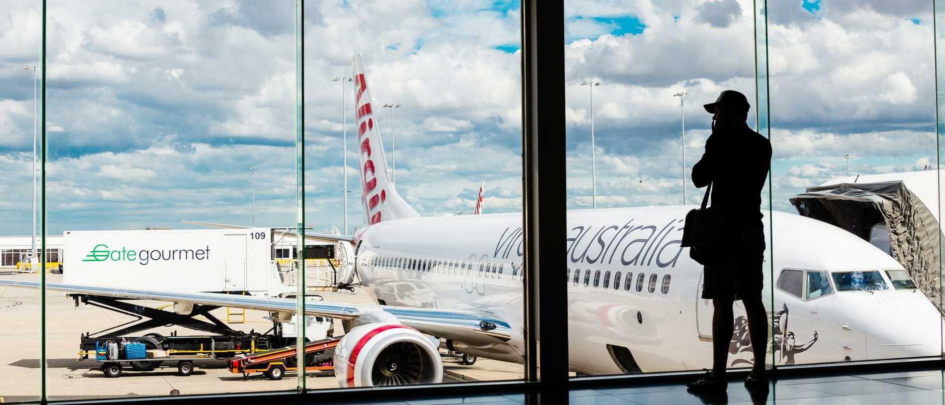 Virgin Australia passenger airliner at Melbourne Airport