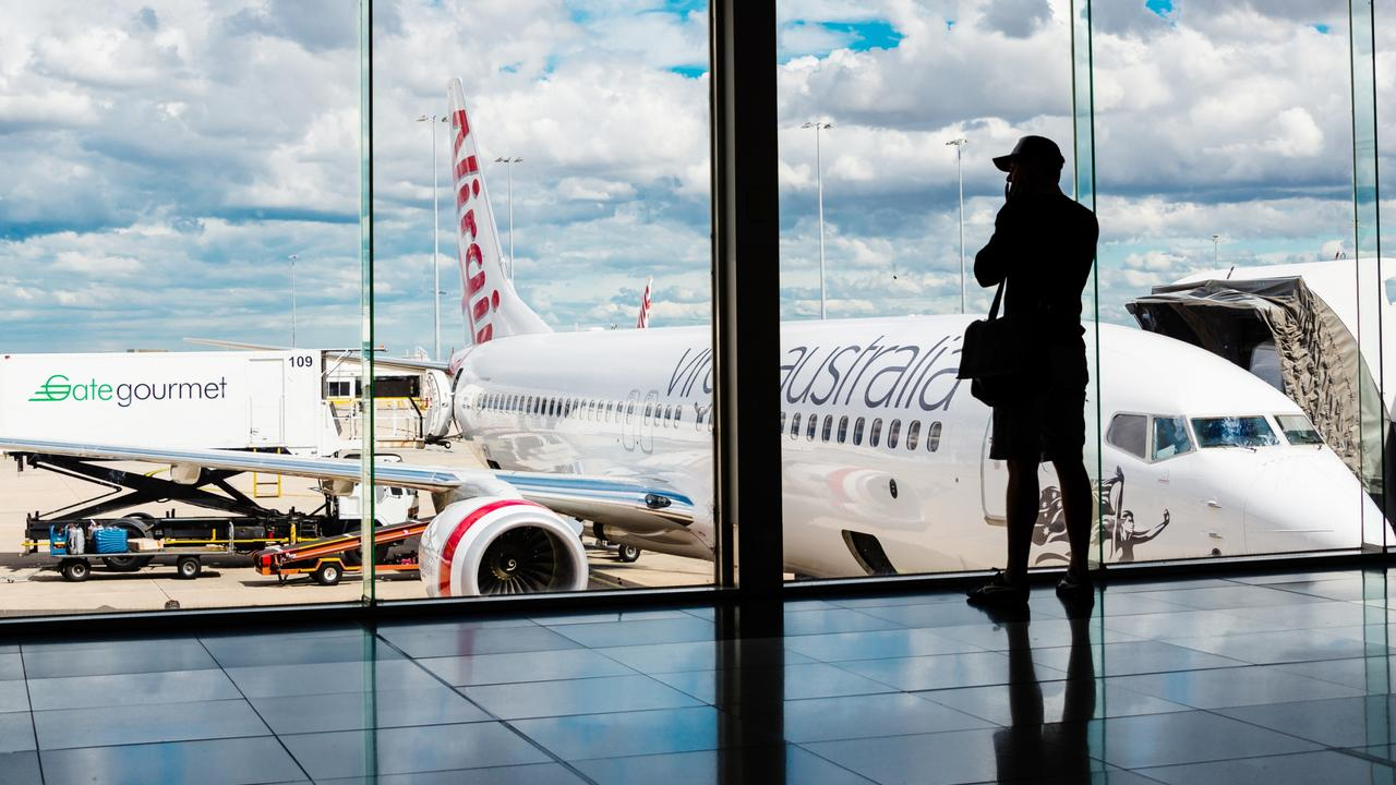 Virgin Australia passenger airliner at Melbourne Airport