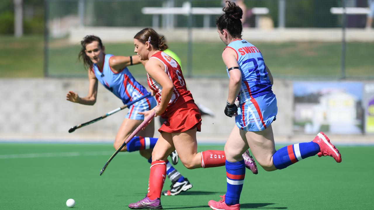 A Norths A-Grade player makes a break during her team's 2-2 draw with Swifts at the Ipswich Hockey Complex. Picture: Rob Williams