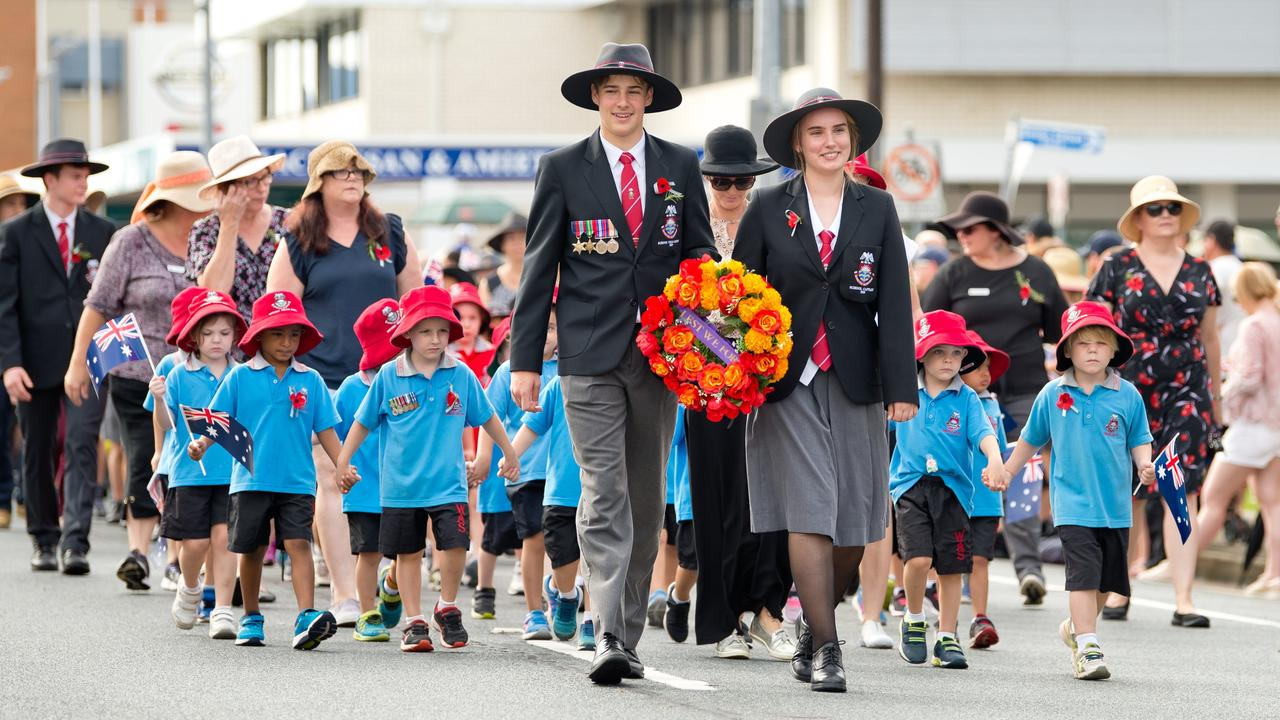 Students from Whitsunday Anglican School march last year's Mackay Anzac Day parade.