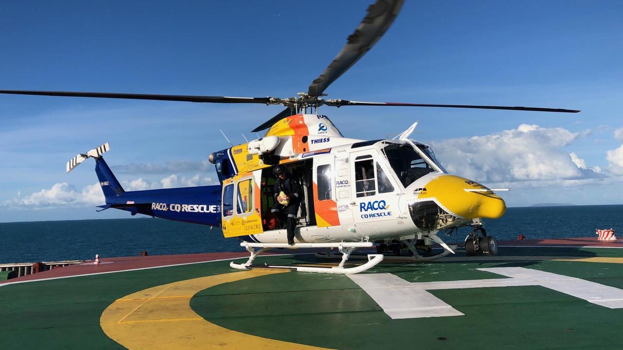 RACQ CQ Rescue has flown an ill 29-year-old sailor from the bulk carrier Pan Bora which was moored at Hay Point yesterday. PICTURE: RACQ CQ Rescue