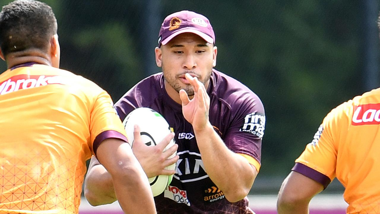 Brisbane Broncos player Jamil Hopoate is seen during training in Brisbane, Monday, March 16, 2020. (AAP Image/Dan Peled) NO ARCHIVING