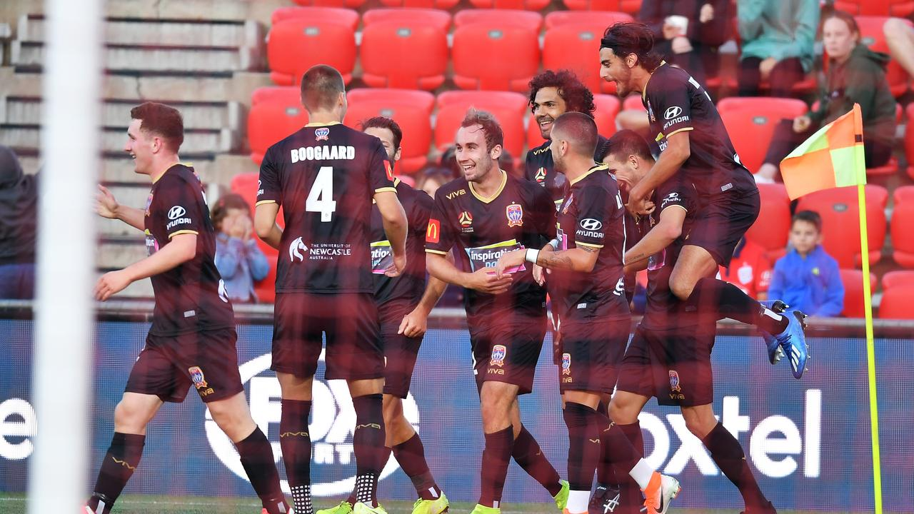 Newcastle celebrates after scoring the teams third goal in a 3-0 win over Adelaide United at Coopers Stadium (Photo by Mark Brake/Getty Images)