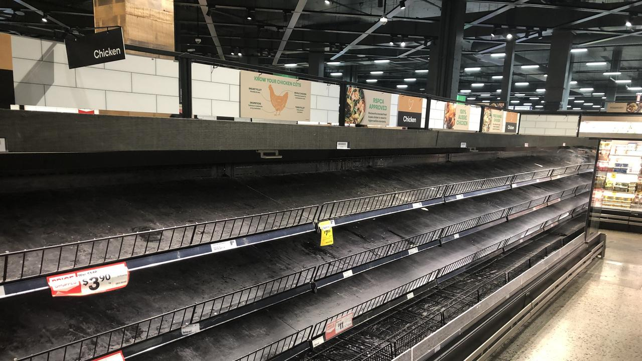 Empty supermarket shelves.