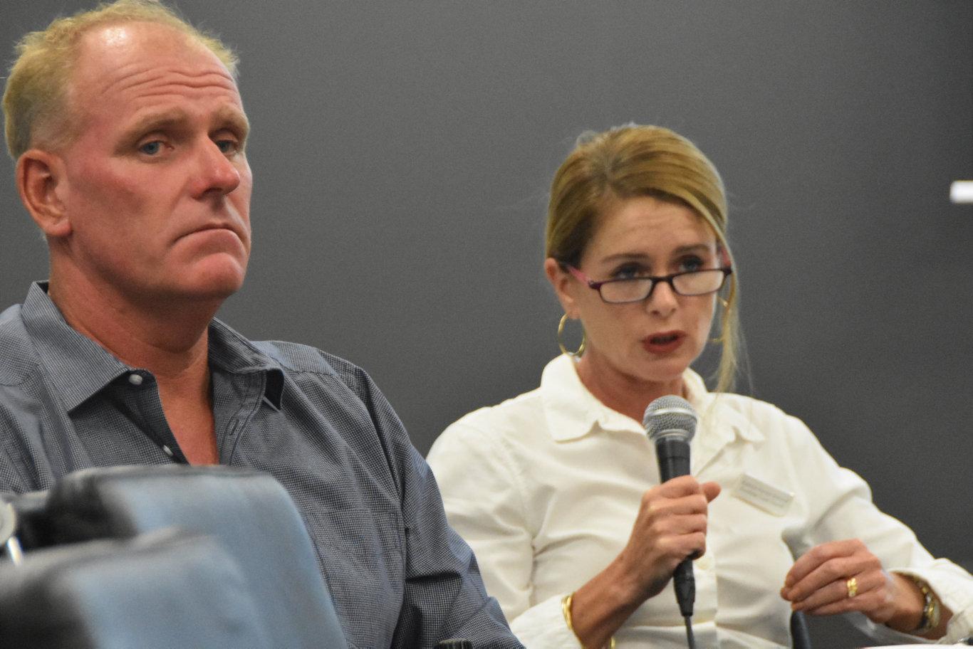 Division 8 candidates Jason O'Pray and Kathryn Hyman at Sunshine Coast Daily election forum.