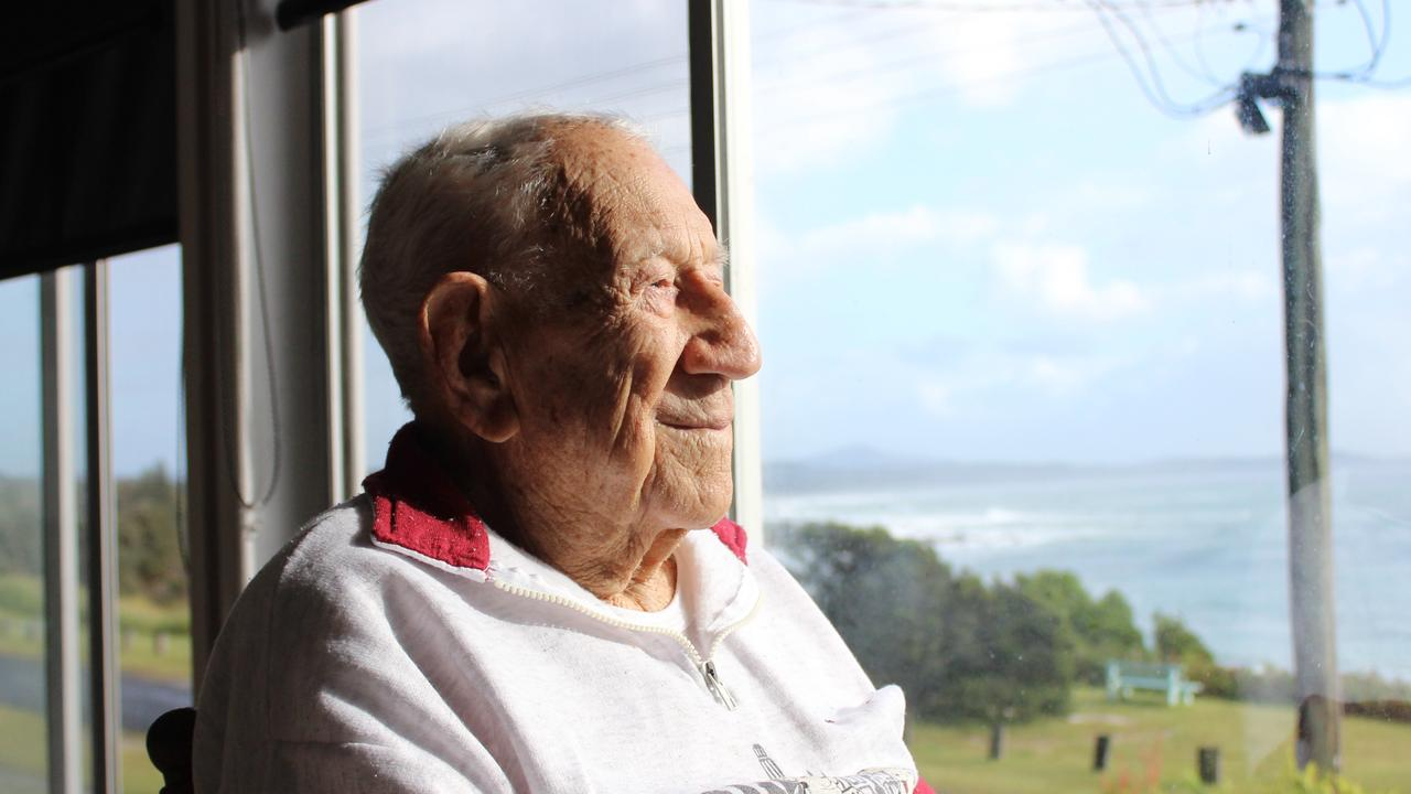 Henry 'Corky' Caldwell at his home in Minnie Water before his 100th birthday.
