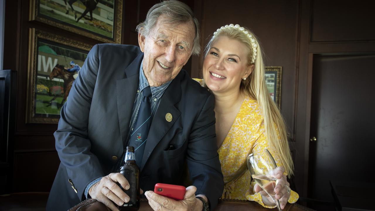 John Singleton and his daughter Sally Singleton Hawach at Royal Randwick. Picture Chris Pavlich