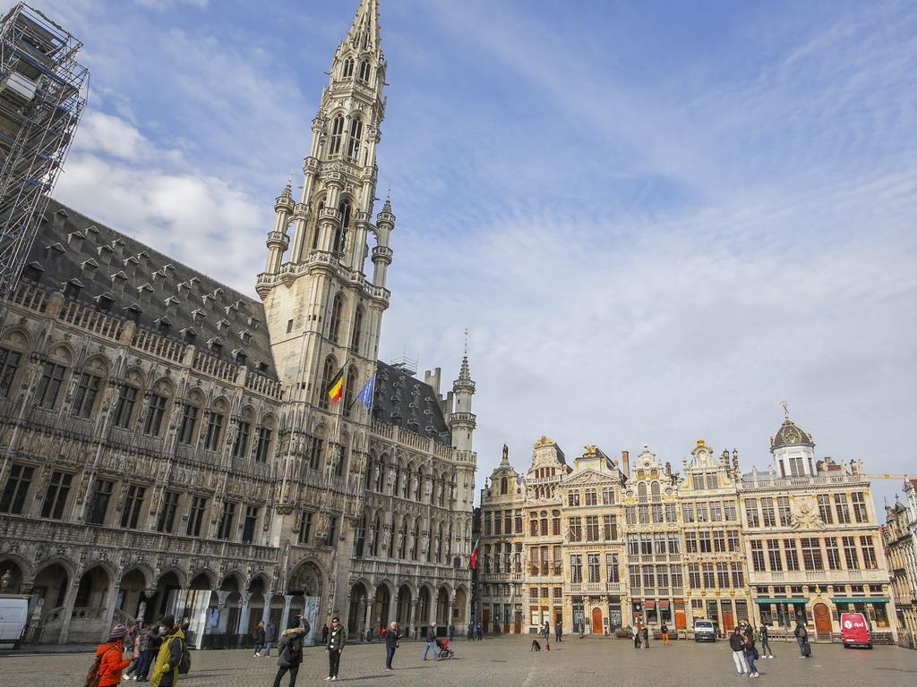 The nearly empty main Grand Place in downtown Brussels. Picture: AP