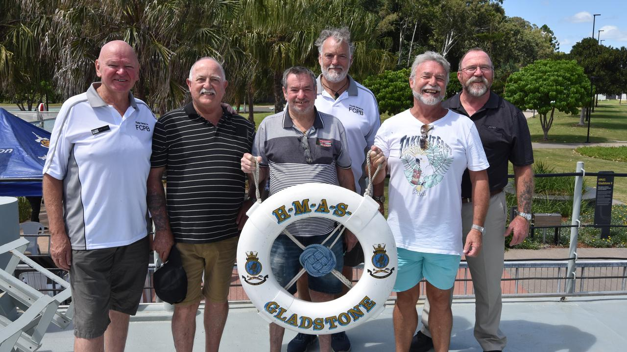 Gary Haigh, Bruce Francis, Dave Owen, Gus Getteridge, Merry Owen and Tad Fribbins were crew members on the commissioning of HMAS Fremantle on March 17, 1980 and were in Gladstone to celebrate with other Fremantle class patrol boat sailors.