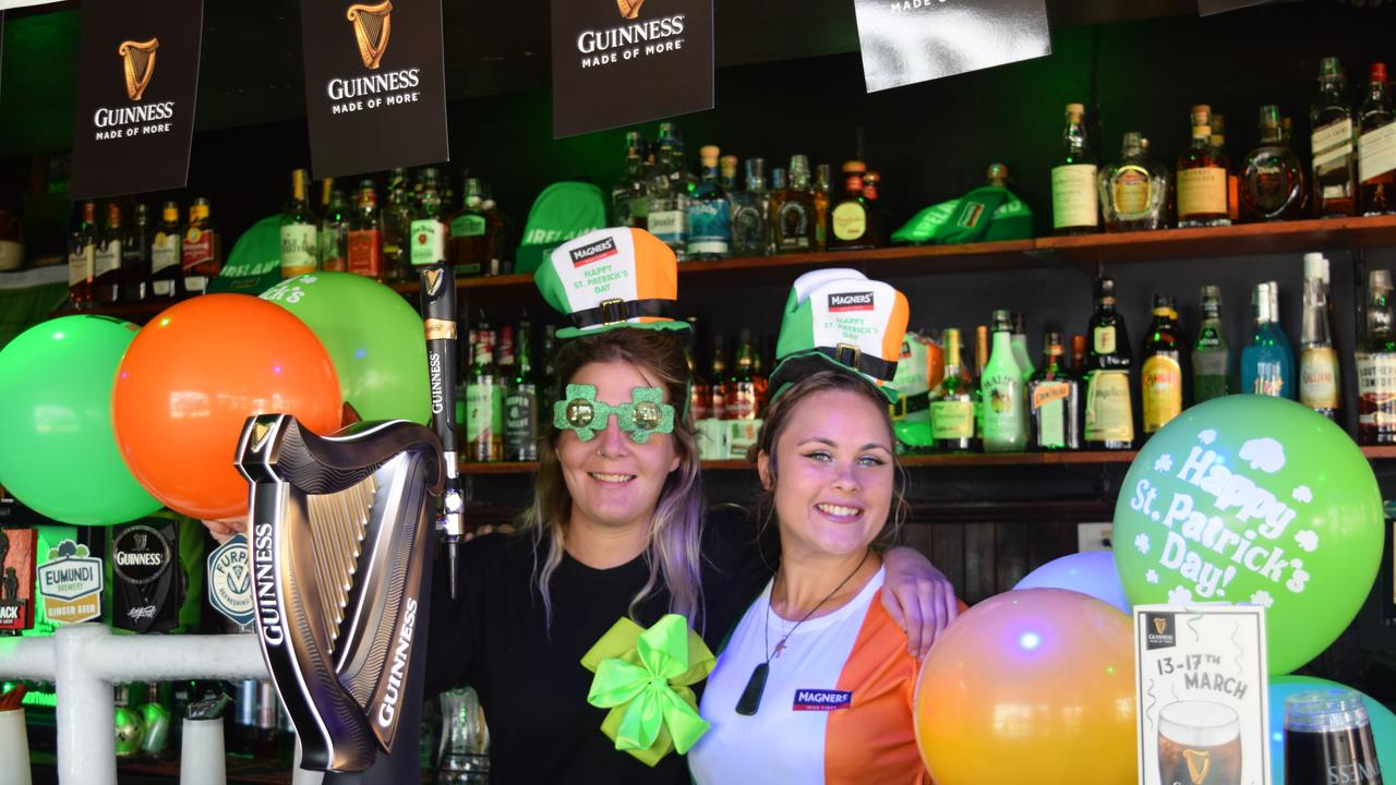 Kirstie Boyes and Joanne Franz get ready to welcome the crowds for St Patrick's Day celebrations at Paddy's Shenanigans, Airlie Beach.