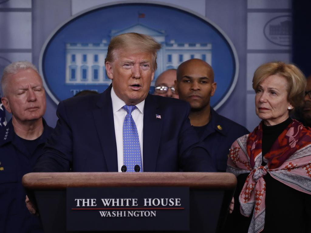 President Donald Trump speaks during a briefing about the coronavirus in the James Brady Press Briefing Room of the White House. Picture: AP