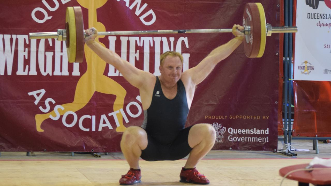 RECORD LIFT: Rohan Caffe competing at the 2020 Queensland Masters Championships and Oly in the Outback.