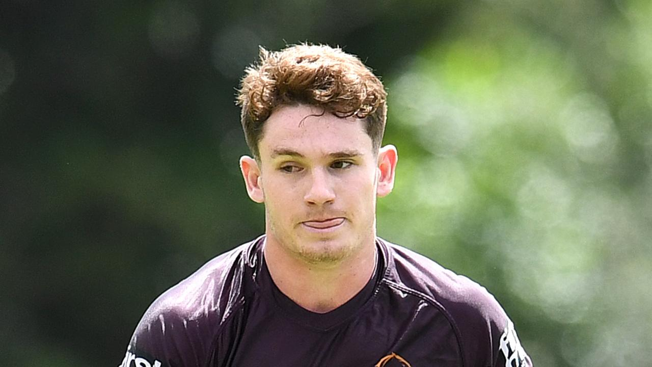 Brisbane Broncos player Ethan Bullemor is seen during training in Brisbane, Monday, March 16, 2020. (AAP Image/Dan Peled) NO ARCHIVING