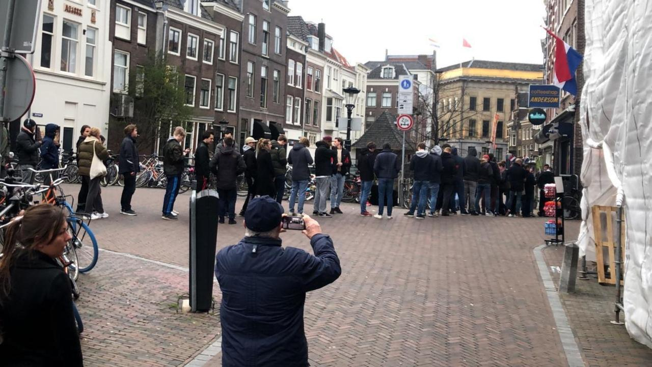 People in Utrecht, Netherlands, line up at a legal cannabis shop before all retail was closed down for the coronavirus shutdown. Picture: Supplied.