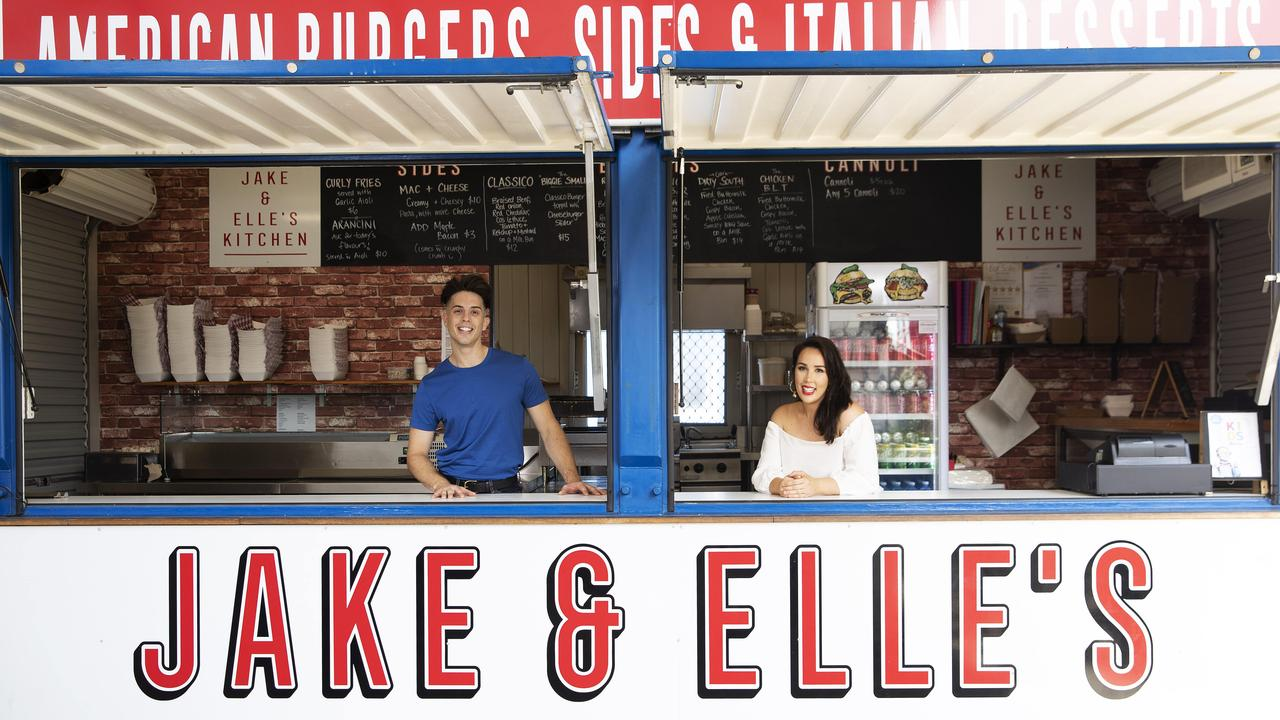 Jake and Elle Harrison at their Eat Street stall. Photo: Attila Csaszar/AAP