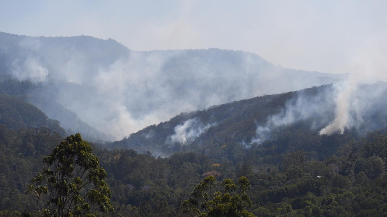 Fires on the hills of Mt Nardi and Tuntable Falls bear Nimbin.