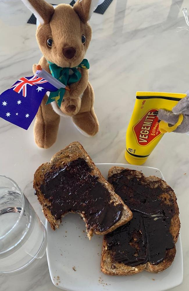 Tom Hanks posted this photo enjoying an Aussie favourite, Vegemite, after his release. Picture: Instagram/@tomhanks