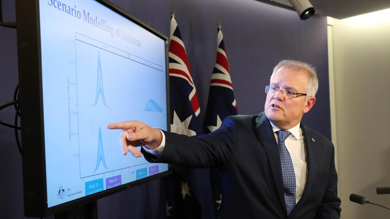 Prime Minister Scott Morrison addresses the media about new coronavirus restrictions and advice. Picture: Richard Dobson