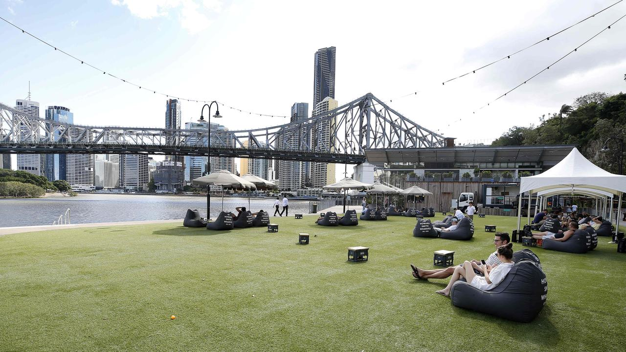 The Howard Smith Wharves are among a number of hospitality and business venues that are very quiet due to coronavirus. (AAP Image/Josh Woning)