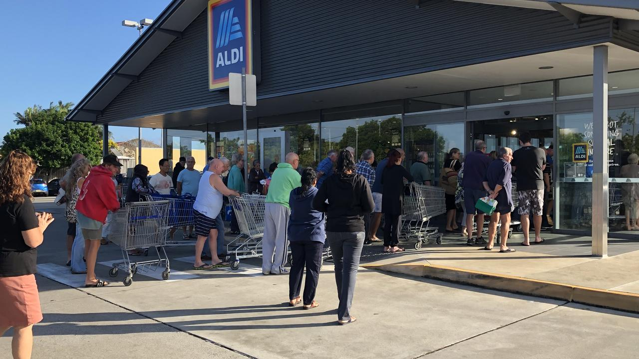 Shoppers line up out the front of Aldi in Ballina before doors are open on Tuesday morning. Picture: Rebecca Fist